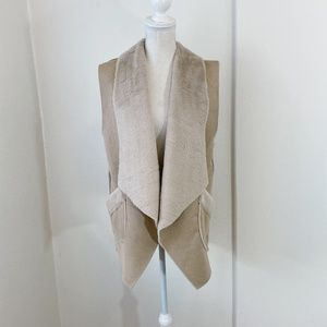Anthro Do Everything In Love Tan Faux Fur Vest OS